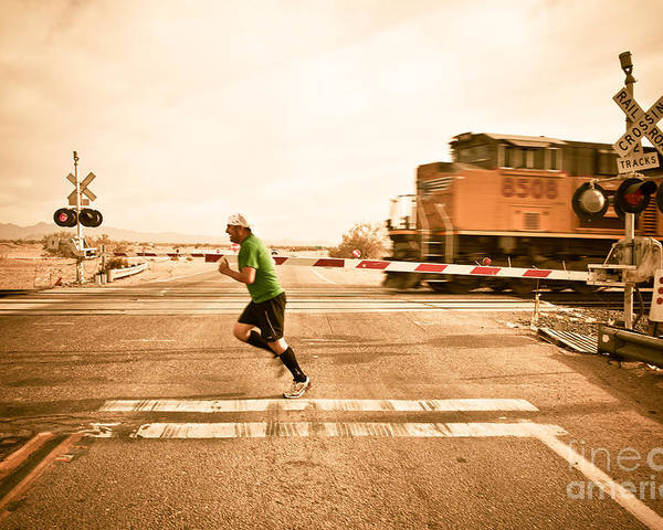 Train Poster featuring the photograph Winning.... For Now by Scott Sawyer