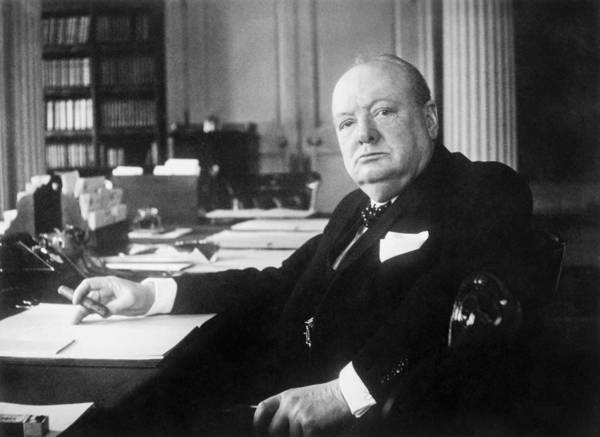 Sir Winston Churchill Poster featuring the photograph Winston Churchill At Number 10 Downing Street by War Is Hell Store
