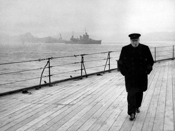 Winston Churchill Poster featuring the photograph Winston Churchill At Sea by War Is Hell Store
