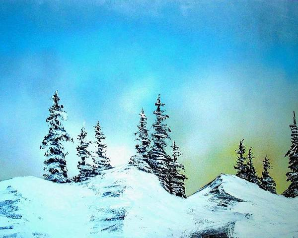 Landscape Poster featuring the painting Winter At Lake Tahoe In California by Ed Moore