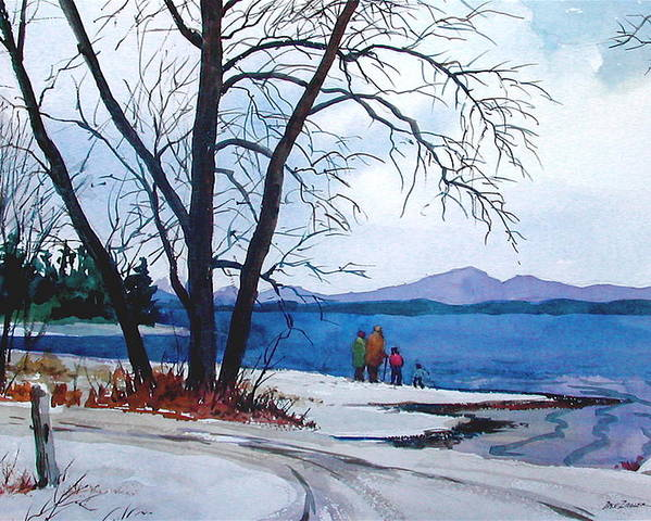 Winter Poster featuring the painting Winter At The Lake by Faye Ziegler
