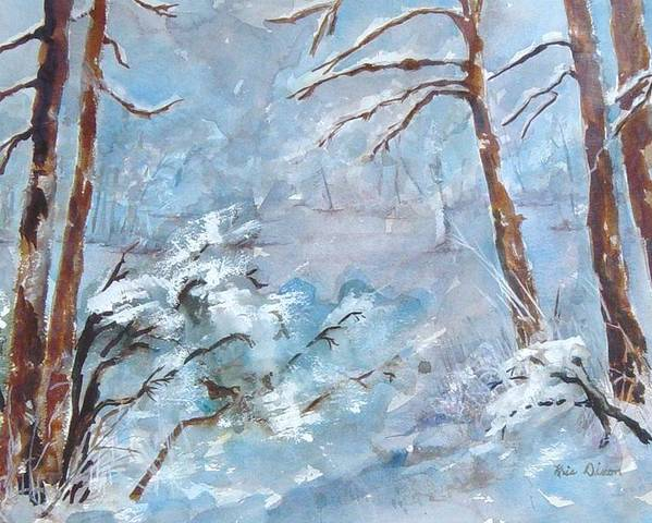 Landscape Poster featuring the painting Winter Breeze by Kris Dixon