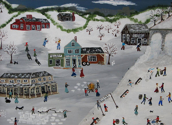 Snow Poster featuring the painting Winter Carnival by Lee Gray