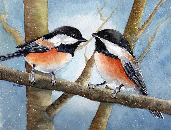 Chickadees Poster featuring the painting Winter Chickadees by Susy Soulies