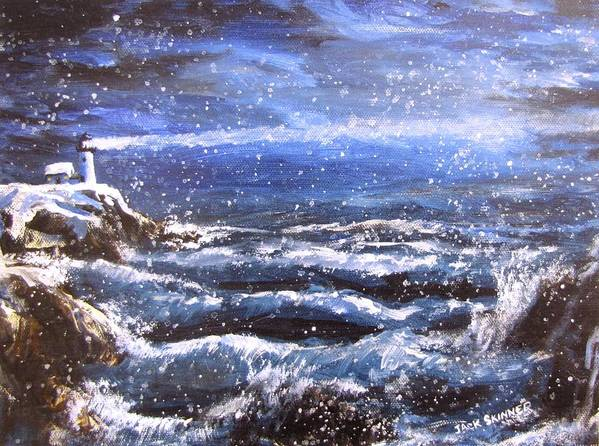 Ocean Poster featuring the painting Winter Coastal Storm by Jack Skinner