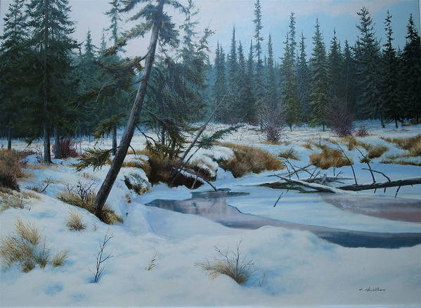 Winter Poster featuring the painting Winter Creek by E Colin Williams ARCA