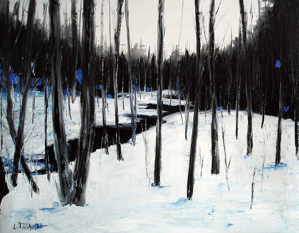 Maine Poster featuring the painting Winter Day by Laura Tasheiko