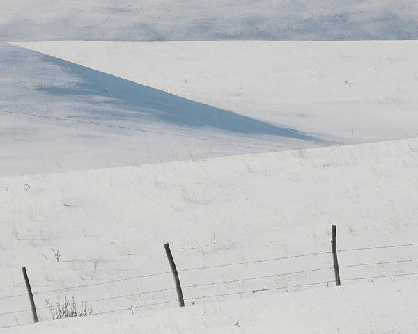 Barbed Wire Poster featuring the digital art Winter Day On The Prairies by Mark Duffy