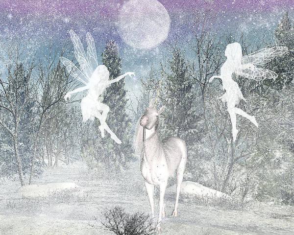 Winter Fairy Magic Fairies Poster featuring the digital art Winter fairy Magic by Lisa Roy