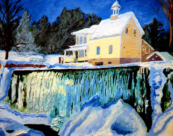 Waterfalls Poster featuring the painting Winter Falls by Stan Hamilton