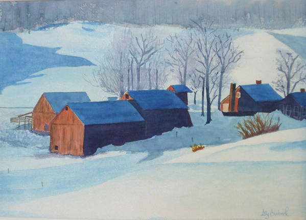Winter Poster featuring the painting Winter Farm by Ally Benbrook