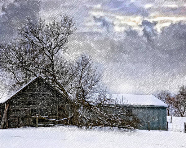 Winter Poster featuring the photograph Winter Farm by Steve Harrington
