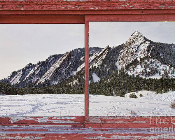 Picture Poster featuring the photograph Winter Flatirons Boulder Colorado Red Barn Picture Window Frame by James BO Insogna