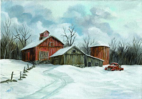 Painting Poster featuring the painting Winter Haven by Marveta Foutch