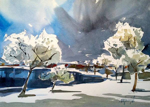 Winter Landscape Poster featuring the painting Winter by Ugljesa Janjic