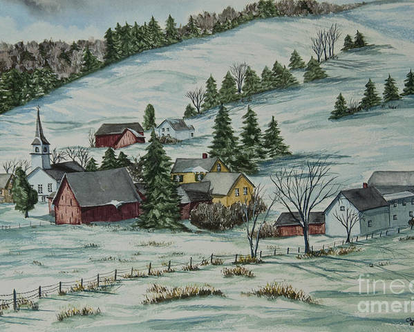 Winter Scene Paintings Poster featuring the painting Winter In East Chatham Vermont by Charlotte Blanchard