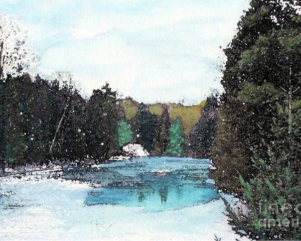 River Poster featuring the mixed media Winter In Kalkaska by Desiree Paquette