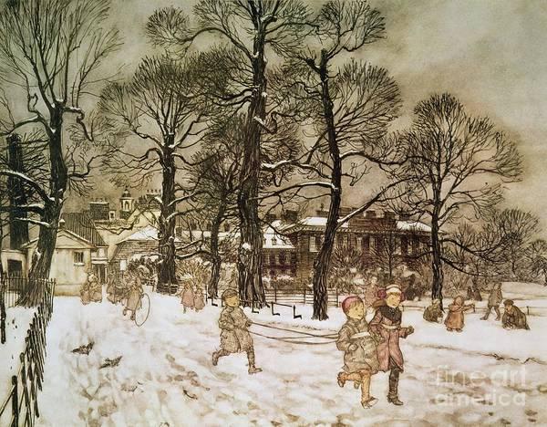 Arthur Rackham Poster featuring the drawing Winter In Kensington Gardens by Arthur Rackham
