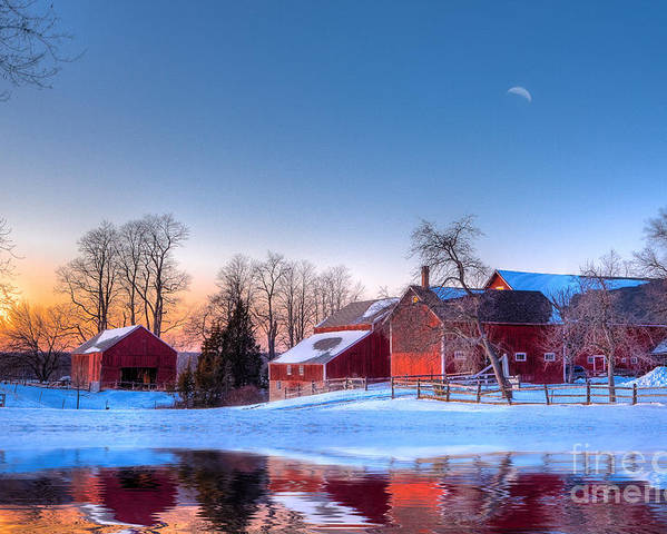 Red Barn Poster featuring the photograph Winter In New England by Michael Petrizzo
