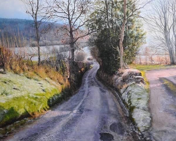 Landscape Poster featuring the painting Winter In North Wales by Harry Robertson