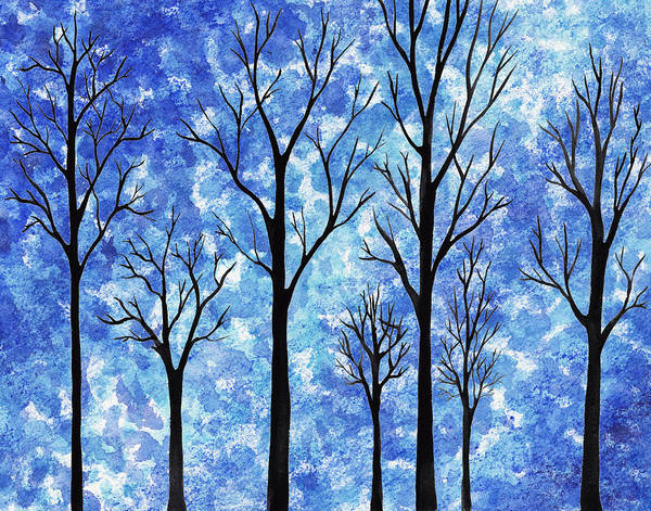 Winter In The Woods Poster featuring the painting Winter In The Woods Abstract by Irina Sztukowski