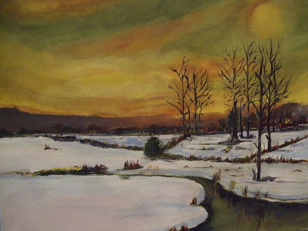 Landscape Poster featuring the painting Winter In Upstate New York by Janet Visser