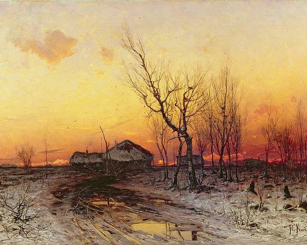 Winter Poster featuring the painting Winter Landscape by Julius Sergius Klever