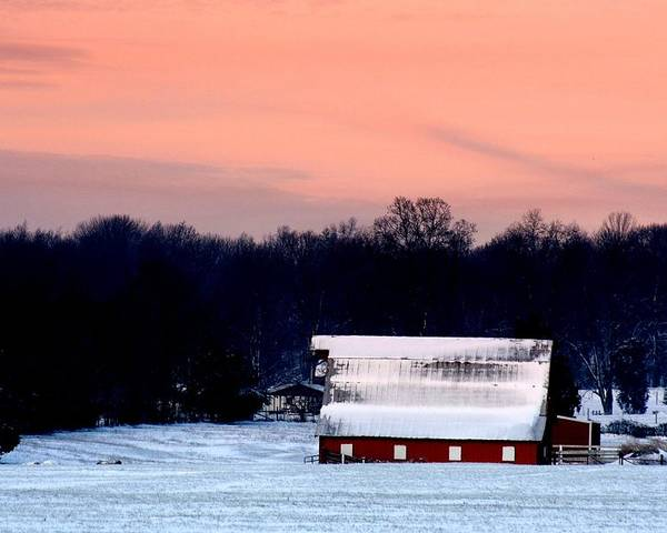 Red Barn Poster featuring the photograph Winter Morn by Diane Merkle