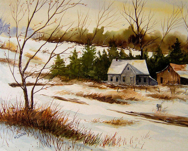Landscape Poster featuring the painting Winter Morning by Brooke Lyman