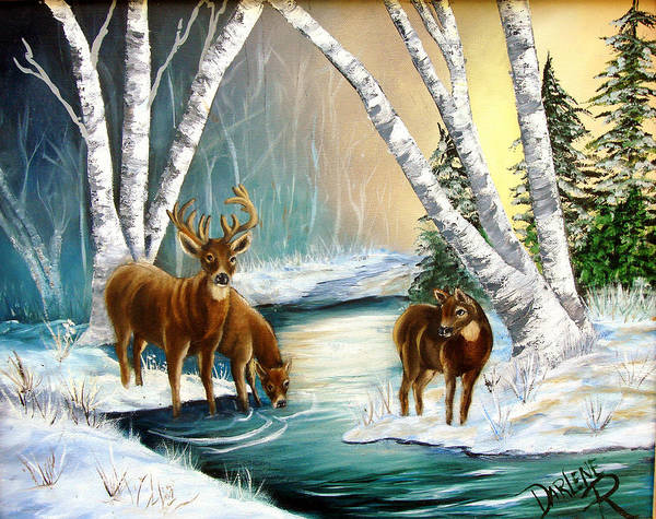 Winter Poster featuring the painting Winter Morning Walk by Darlene Green