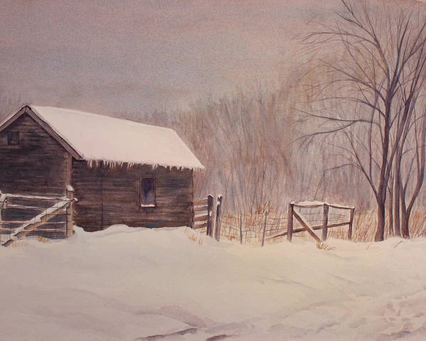 Barn Poster featuring the painting Winter On The Farm by Debbie Homewood