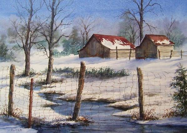 Winter Landscape Poster featuring the painting Winter Out Buildings by Virginia Potter
