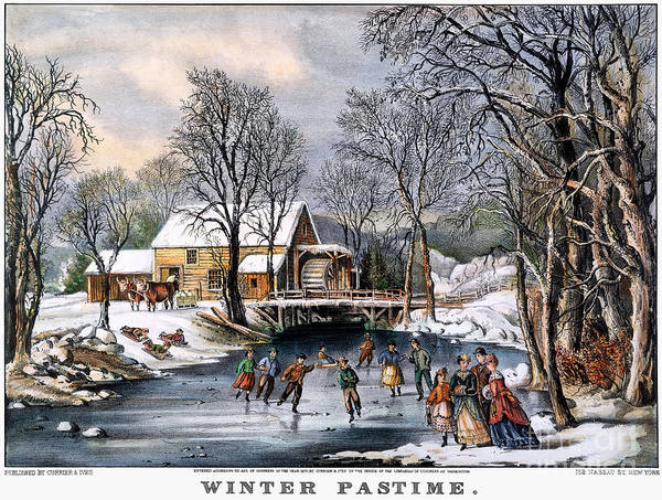 1870 Poster featuring the photograph Winter Pastime, 1870 by Granger