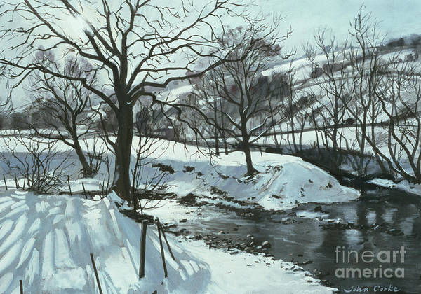 Landscape; Winter; Snow; Cumbria; Cumbrian; Sun; Sunlight; Shadows; River; Water; Stream; Tree; Trees Poster featuring the painting Winter River by John Cooke