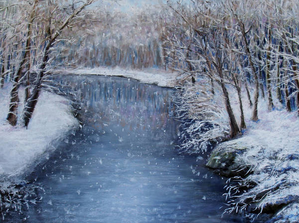 Landscape Poster featuring the painting Winter River by Susan Jenkins