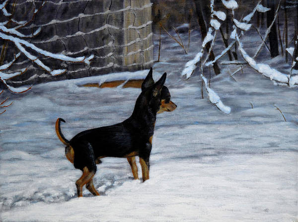 Chihuahua Poster featuring the painting Winter Scene by Karen Peterson