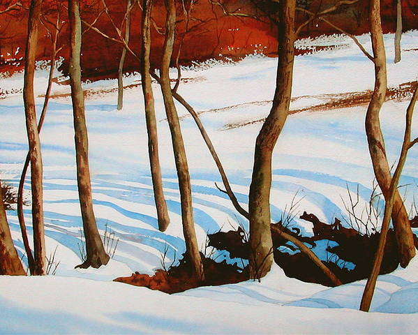 Landscape Poster featuring the painting Winter Shadows by Faye Ziegler