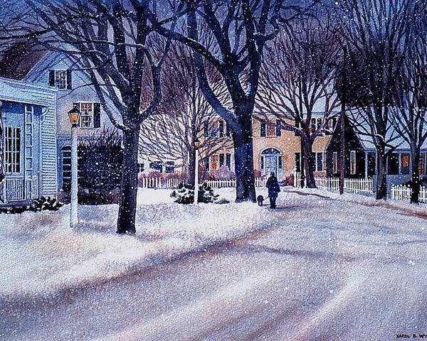 Winter Poster featuring the painting Winter Stroll by Karol Wyckoff
