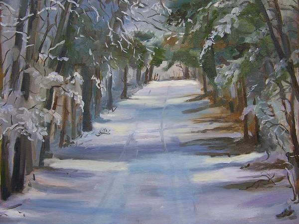 Landscape Poster featuring the painting Winter Walk In The Woods by Georgeanne Wayman