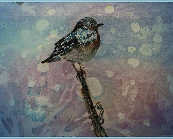 Bird Poster featuring the painting Winter Warrior by Mindy Newman