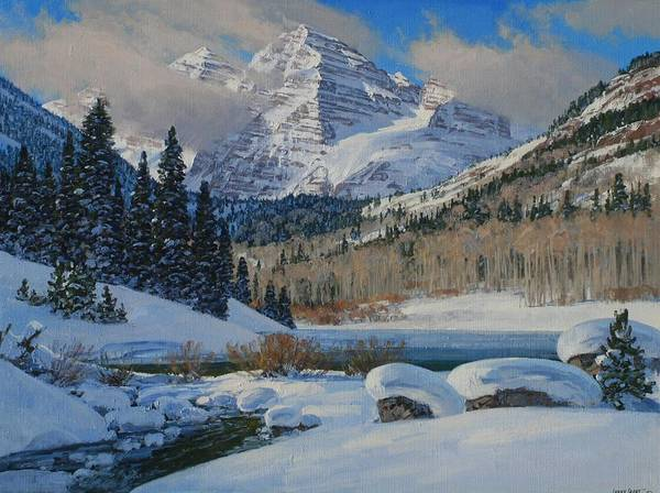 Landscape Poster featuring the painting Winter Willows by Lanny Grant