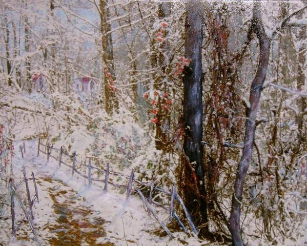 Snow; Trees Poster featuring the painting Winter Wonderland by Ben Kiger