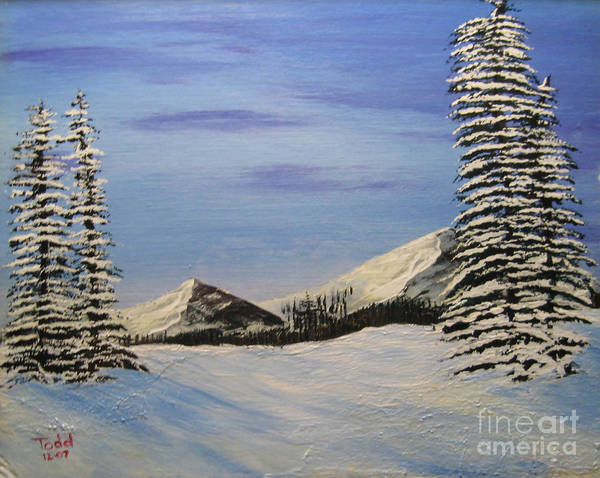 Landscape Poster featuring the painting Winters chill by Todd Androy