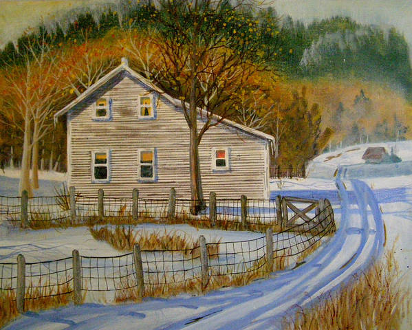 Landscape Poster featuring the painting Wintery Country Road by Teresa Boston
