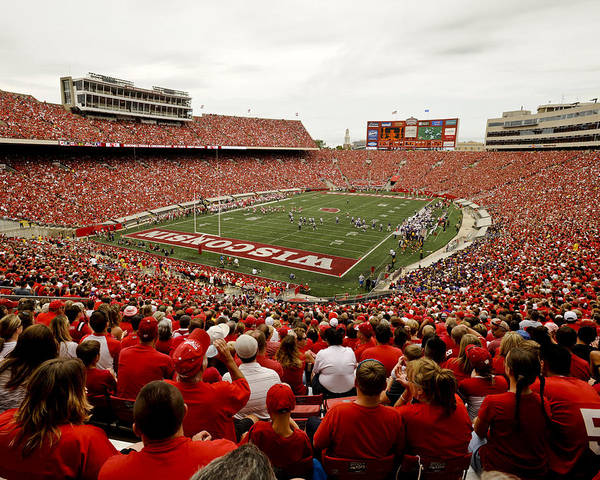 Wisconsin Poster featuring the photograph Wisconsin Badgers Play In Camp Randall Stadium by Relpay Photos
