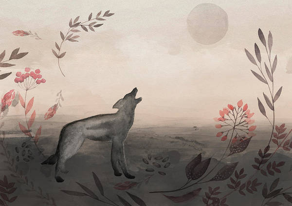 Wolf Poster featuring the painting Wolf At Twilight by Amanda Lakey