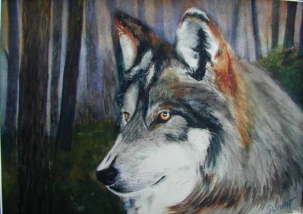 Animal Poster featuring the painting Wolf by Dwight Williams