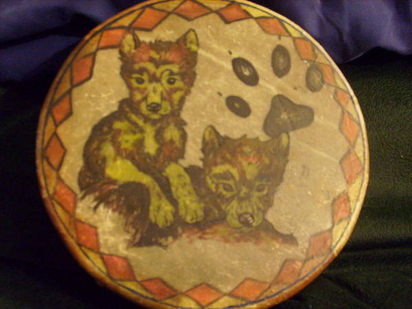Drum Poster featuring the painting Wolf Pup Drum by Angelina Benson
