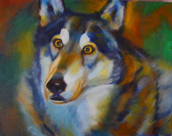Animal Painting Poster featuring the painting Wolf Spirit by Kaytee Esser