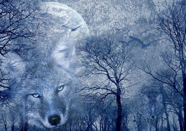 Art Poster featuring the digital art Wolf by Svetlana Sewell